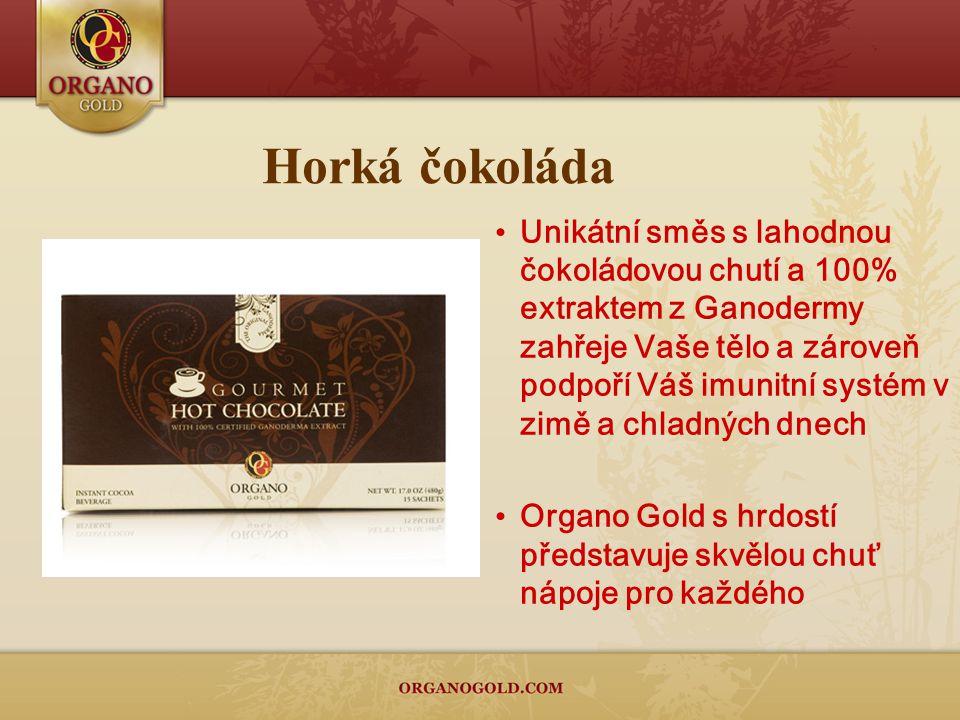 Horká čokoláda Unikátní směs s lahodnou čokoládovou chutí a 100% extraktem z Ganodermy zahřeje Vaše tělo a zároveň podpoří Váš imunitní systém v zimě a chladných dnech Organo Gold s hrdostí představuje skvělou chuť nápoje pro každého