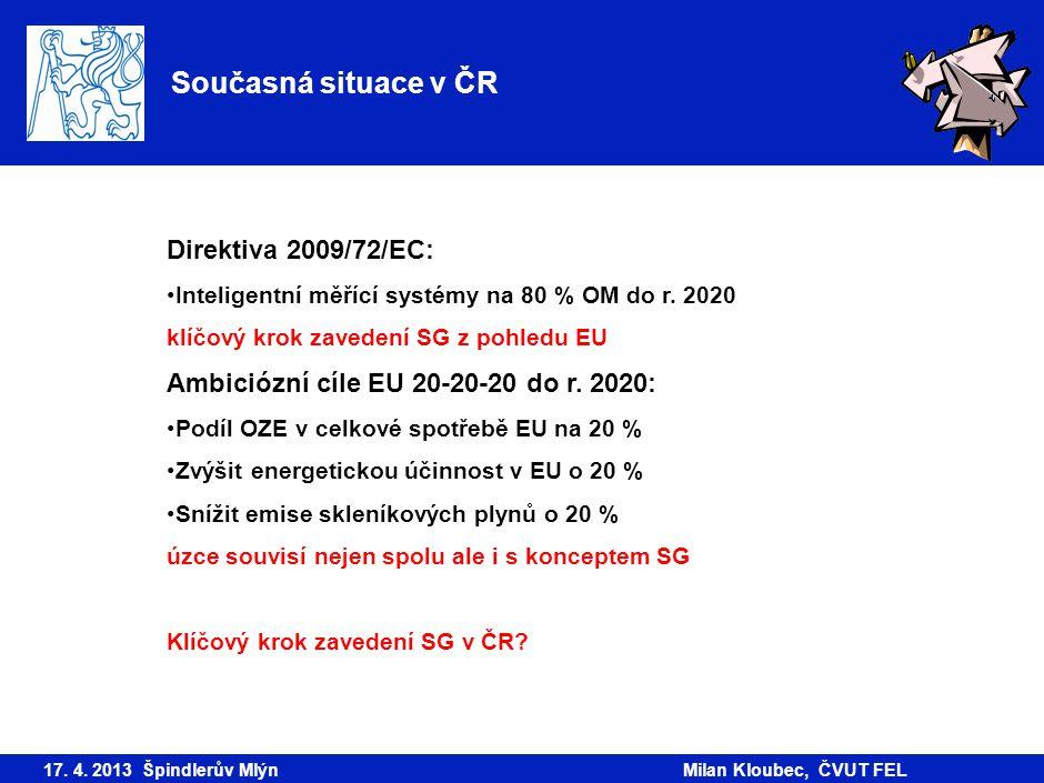 Současná situace v ČR 17. 4. 2013 Špindlerův MlýnMilan Kloubec, ČVUT FEL Direktiva 2009/72/EC: Inteligentní měřící systémy na 80 % OM do r. 2020 klíčo
