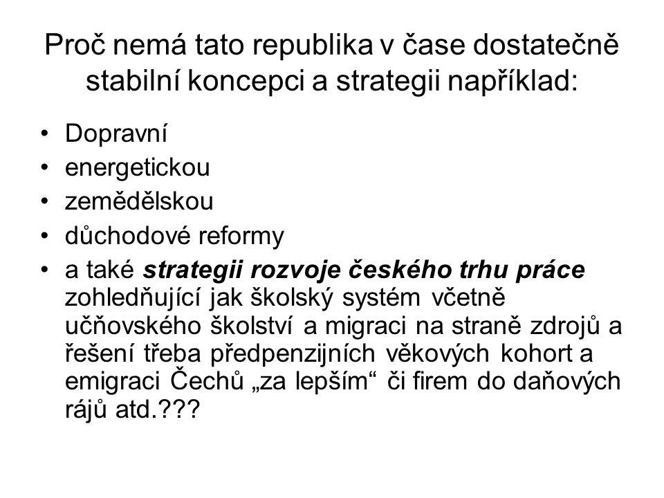 """Proč nemá tato republika v čase dostatečně stabilní koncepci a strategii například: Dopravní energetickou zemědělskou důchodové reformy a také strategii rozvoje českého trhu práce zohledňující jak školský systém včetně učňovského školství a migraci na straně zdrojů a řešení třeba předpenzijních věkových kohort a emigraci Čechů """"za lepším či firem do daňových rájů atd.???"""