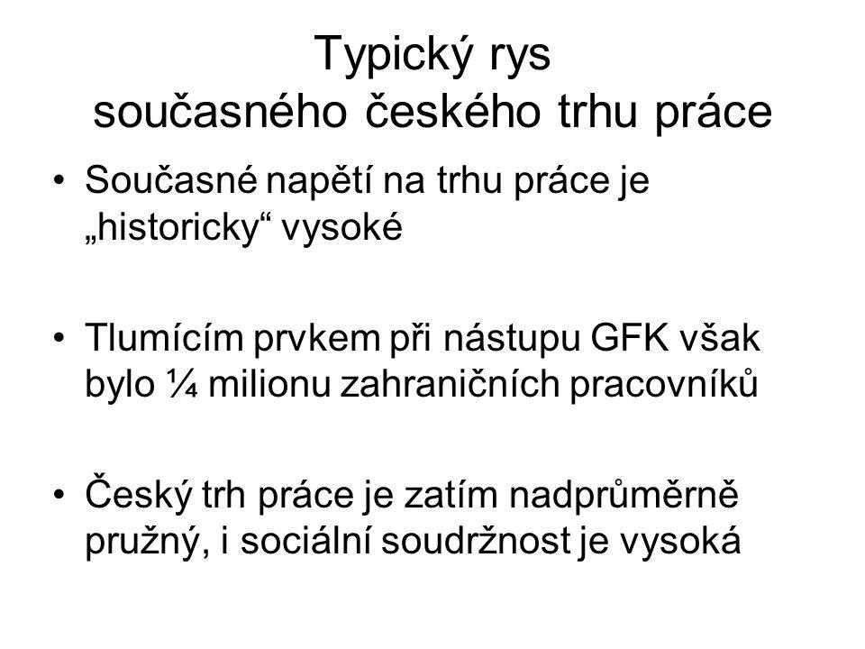 """Typický rys současného českého trhu práce Současné napětí na trhu práce je """"historicky vysoké Tlumícím prvkem při nástupu GFK však bylo ¼ milionu zahraničních pracovníků Český trh práce je zatím nadprůměrně pružný, i sociální soudržnost je vysoká"""