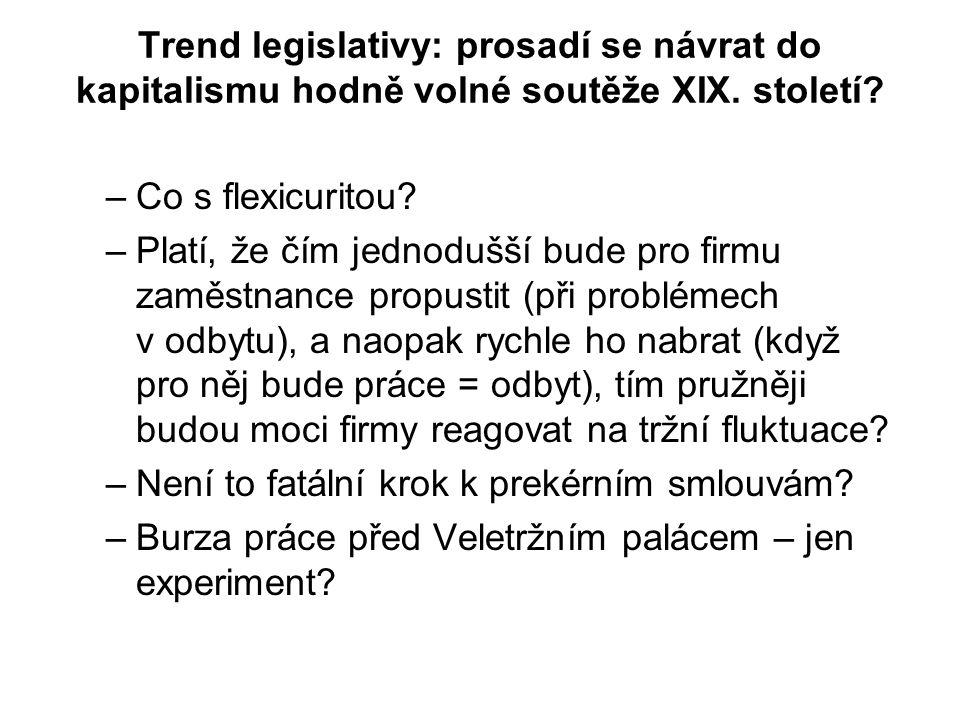 Trend legislativy: prosadí se návrat do kapitalismu hodně volné soutěže XIX.