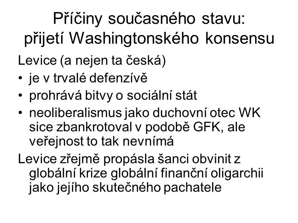 Příčiny současného stavu: přijetí Washingtonského konsensu Levice (a nejen ta česká) je v trvalé defenzívě prohrává bitvy o sociální stát neoliberalismus jako duchovní otec WK sice zbankrotoval v podobě GFK, ale veřejnost to tak nevnímá Levice zřejmě propásla šanci obvinit z globální krize globální finanční oligarchii jako jejího skutečného pachatele