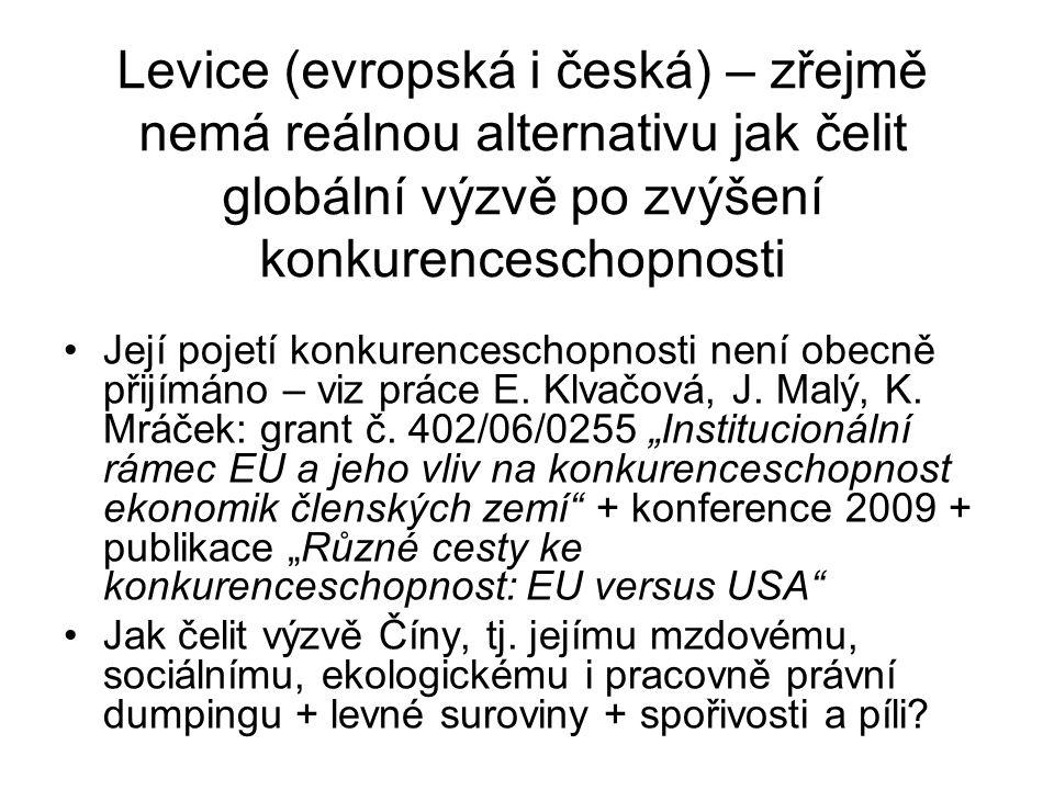 Levice (evropská i česká) – zřejmě nemá reálnou alternativu jak čelit globální výzvě po zvýšení konkurenceschopnosti Její pojetí konkurenceschopnosti není obecně přijímáno – viz práce E.