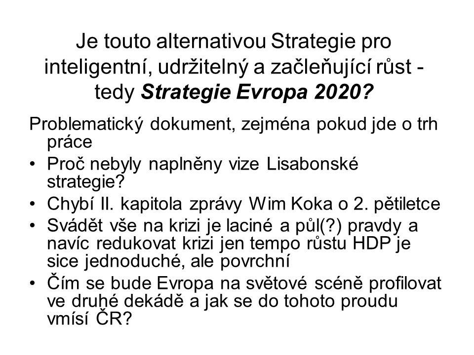 Je touto alternativou Strategie pro inteligentní, udržitelný a začleňující růst - tedy Strategie Evropa 2020.