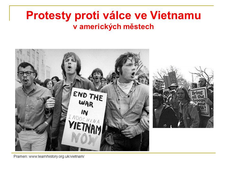 Protesty proti válce ve Vietnamu v amerických městech Pramen: www.learnhistory.org.uk/vietnam/