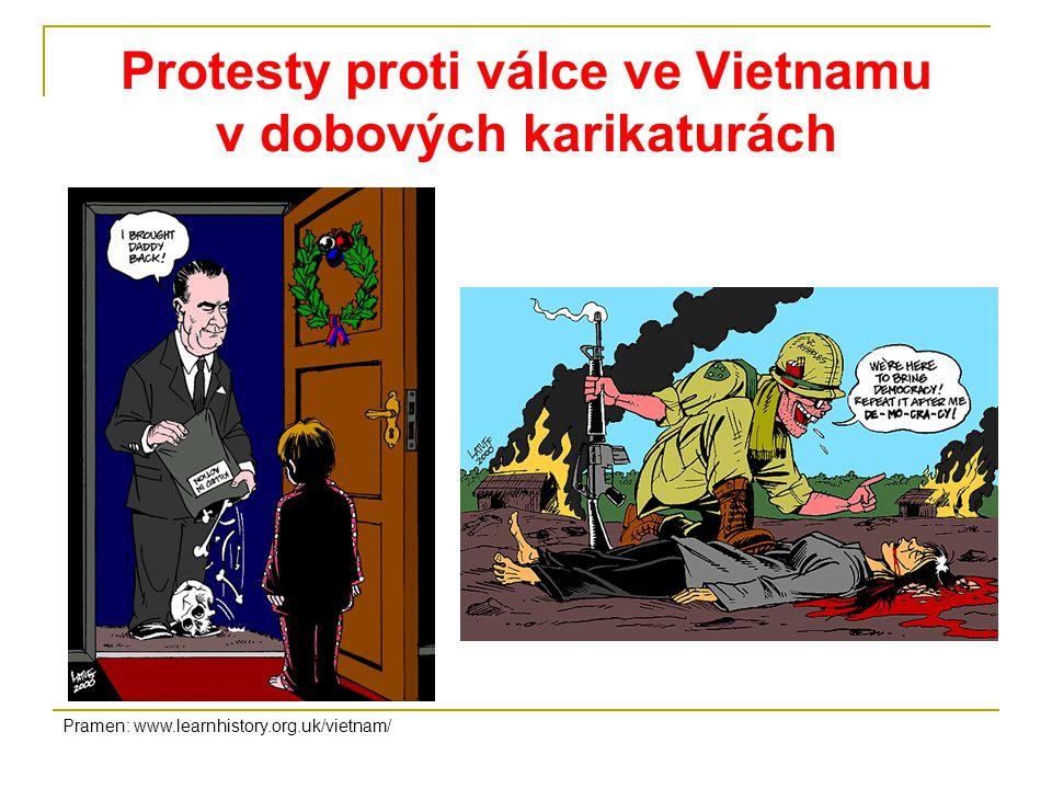 Protesty proti válce ve Vietnamu v dobových karikaturách Pramen: www.learnhistory.org.uk/vietnam/