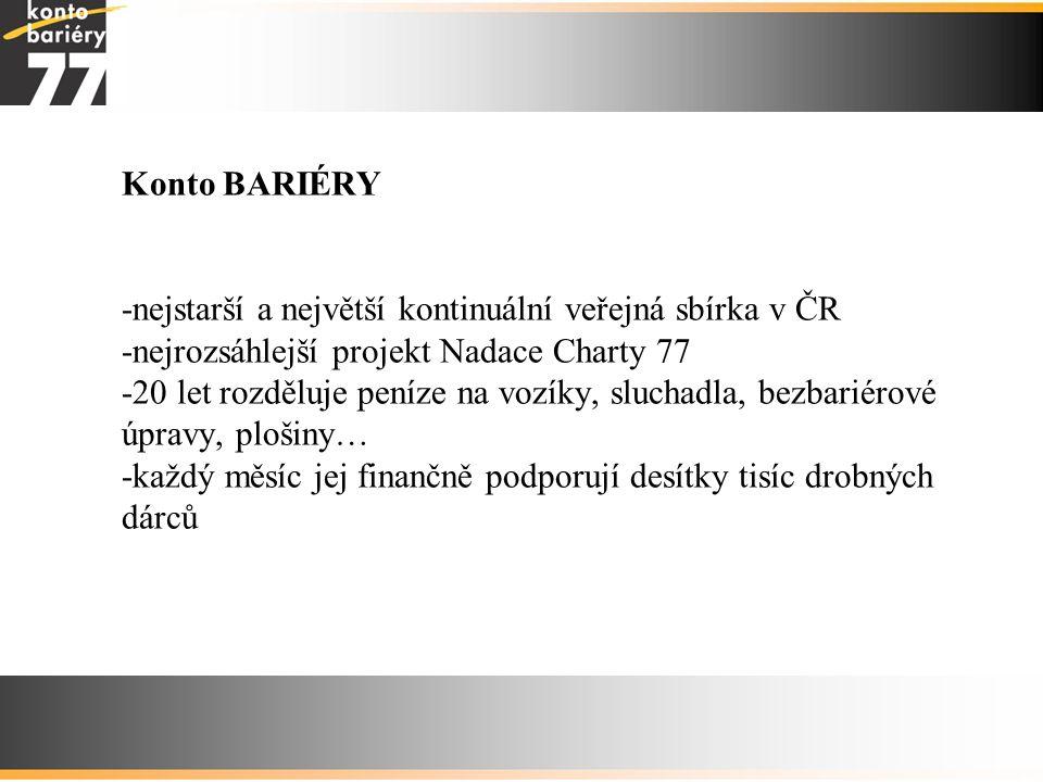 Konto BARIÉRY -nejstarší a největší kontinuální veřejná sbírka v ČR -nejrozsáhlejší projekt Nadace Charty 77 -20 let rozděluje peníze na vozíky, sluch