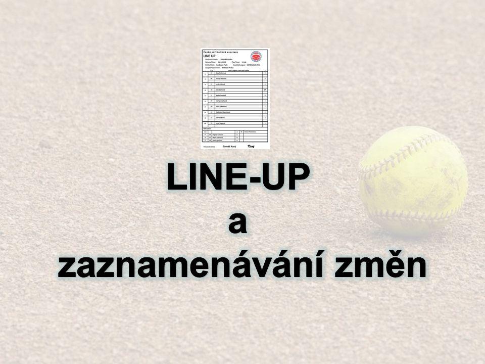 Změna - 5 Změna nadhozu - Zappová bude nadhazovat, Vacíková bude i nadále (stále) chodit na pálku Škrtněte pozici 1 a nahraďte ji jako DP Napište pozici 1 na 10.