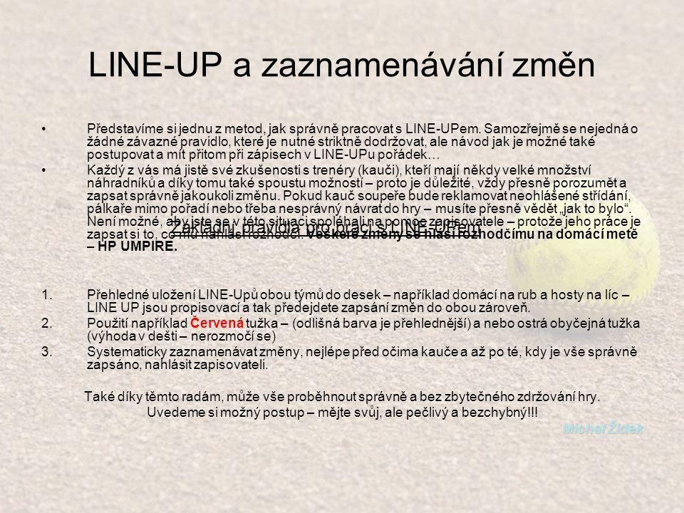 LINE-UP a zaznamenávání změn Představíme si jednu z metod, jak správně pracovat s LINE-UPem.