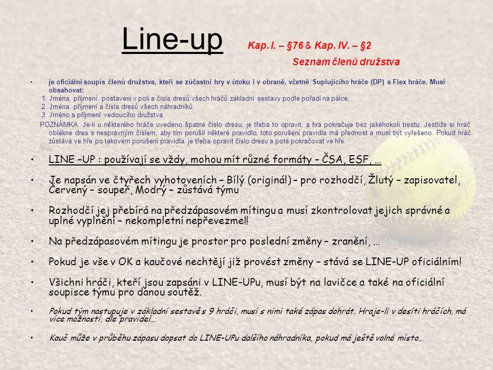 Line-up Kap.I. – §76 & Kap. IV.