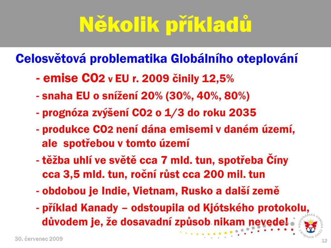 30. červenec 2009 12 Celosvětová problematika Globálního oteplování - emise CO 2 v EU r.