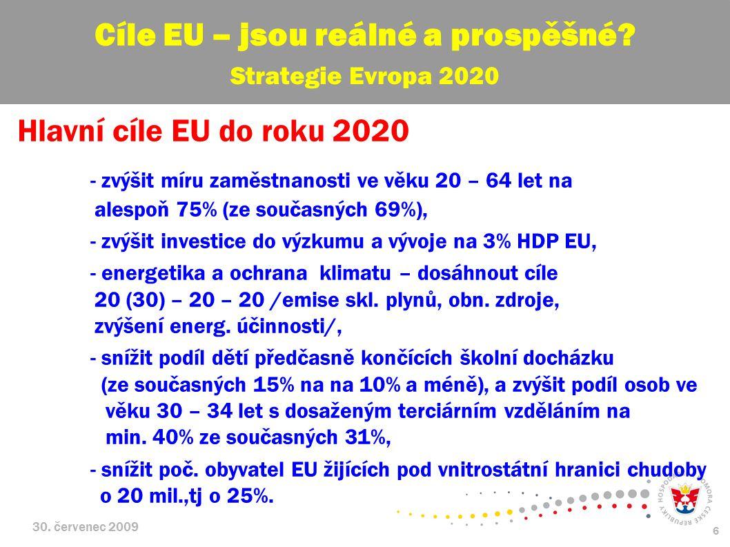 30. červenec 2009 6 Hlavní cíle EU do roku 2020 - zvýšit míru zaměstnanosti ve věku 20 – 64 let na alespoň 75% (ze současných 69%), - zvýšit investice