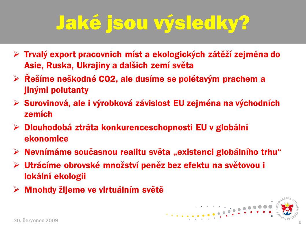 30. červenec 2009 9  Trvalý export pracovních míst a ekologických zátěží zejména do Asie, Ruska, Ukrajiny a dalších zemí světa  Řešíme neškodné CO2,