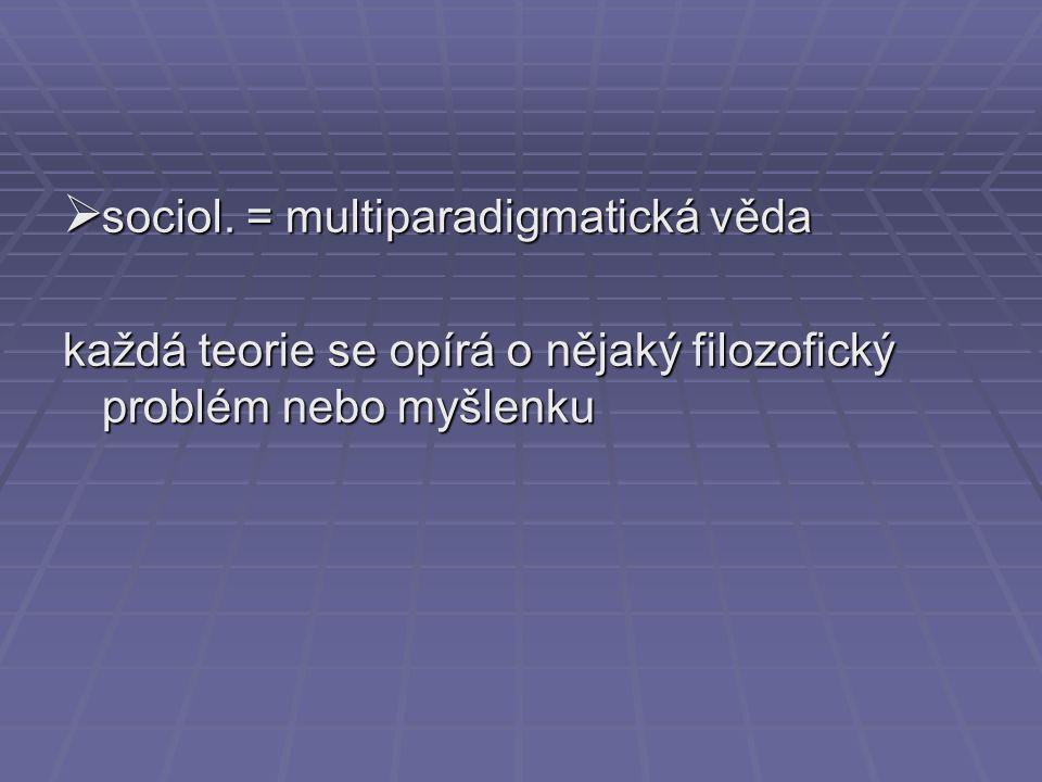  sociol. = multiparadigmatická věda každá teorie se opírá o nějaký filozofický problém nebo myšlenku