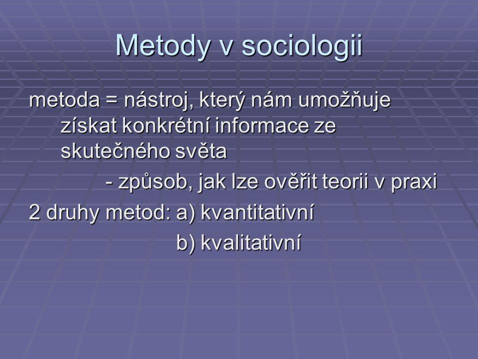 Metody v sociologii metoda = nástroj, který nám umožňuje získat konkrétní informace ze skutečného světa - způsob, jak lze ověřit teorii v praxi - způs