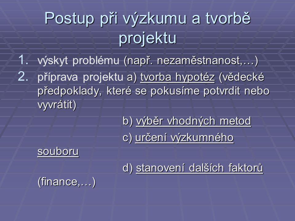 Postup při výzkumu a tvorbě projektu 1. (např. nezaměstnanost,…) 1. výskyt problému (např. nezaměstnanost,…) 2. a) tvorba hypotéz (vědecké předpoklady