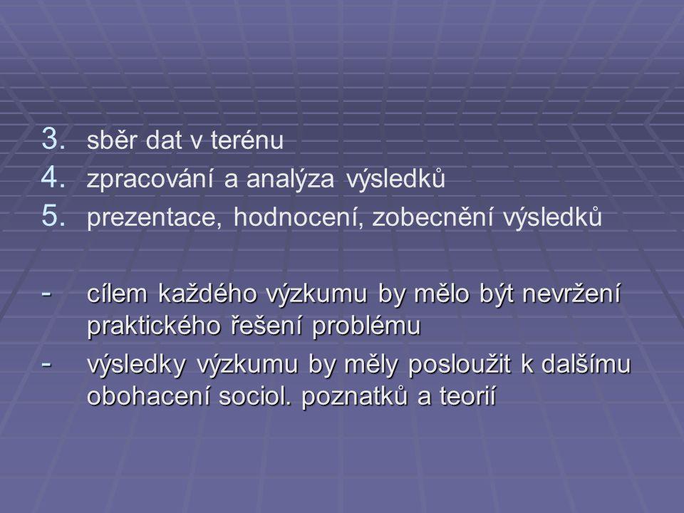 3. 3. sběr dat v terénu 4. 4. zpracování a analýza výsledků 5. 5. prezentace, hodnocení, zobecnění výsledků - cílem každého výzkumu by mělo být nevrže