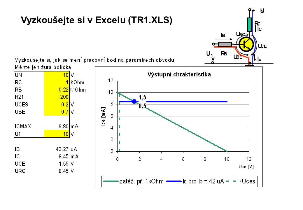 Vyzkoušejte si v Excelu (TR1.XLS) + U N R C R B I C I E I B U BE U BC U CE U1U1