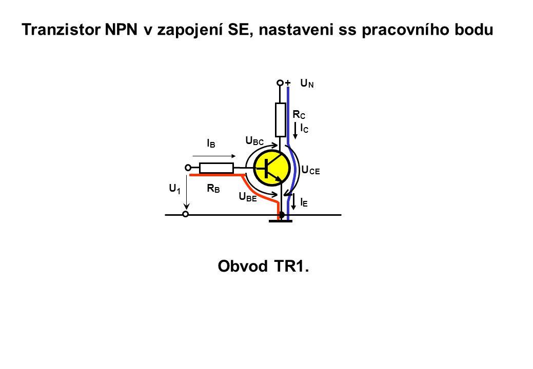 + U N R C R B I C I E I B U BE U BC U CE U1U1 Tranzistor NPN v zapojení SE, nastaveni ss pracovního bodu Obvod TR1.
