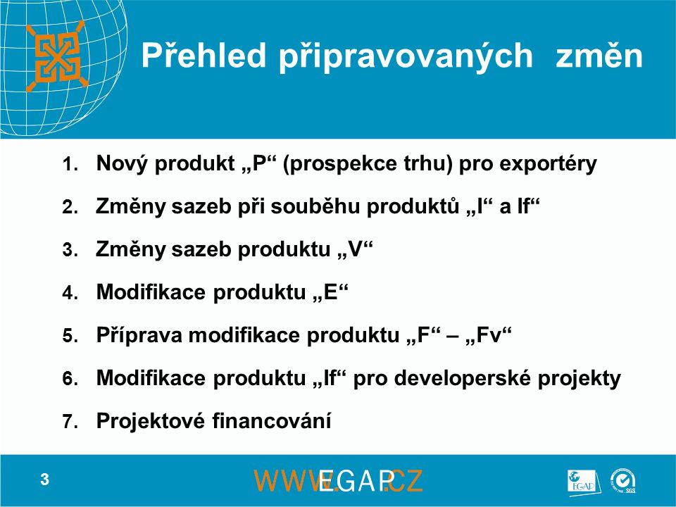 """14 Příprava modifikace produktu """"F – """"Fv  Cíl – umožnit čerpání předexportních úvěrů pro vývoz výsledků vědy a výzkumu, resp."""