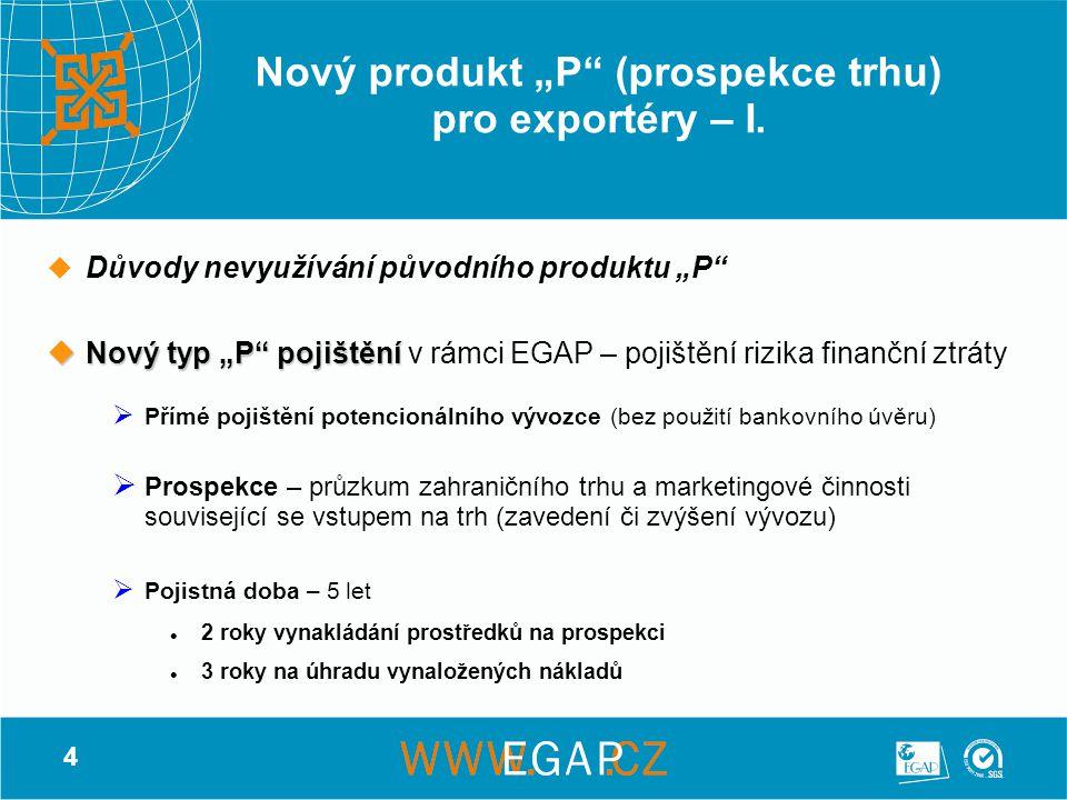 """5 Nový produkt """"P (prospekce trhu) pro exportéry – II."""