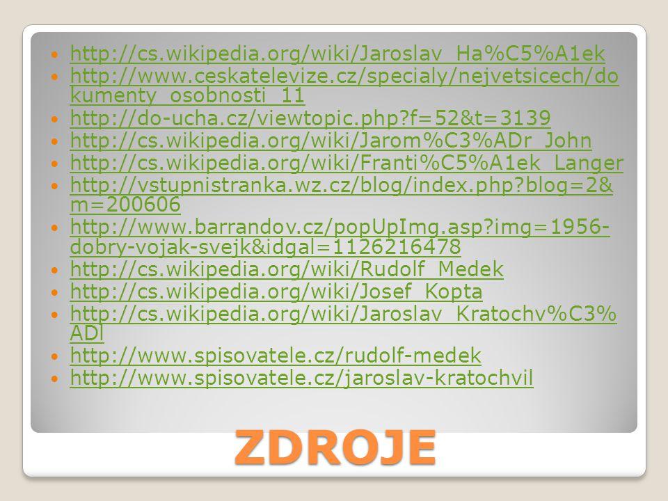 ZDROJE http://cs.wikipedia.org/wiki/Jaroslav_Ha%C5%A1ek http://www.ceskatelevize.cz/specialy/nejvetsicech/do kumenty_osobnosti_11 http://www.ceskatele