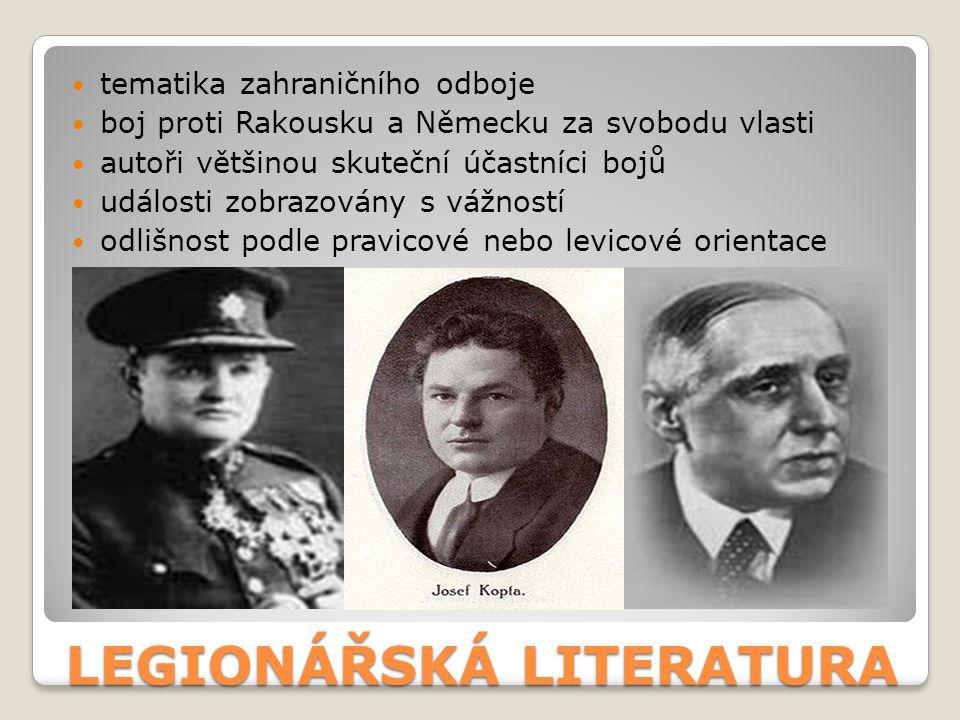 LEGIONÁŘSKÁ LITERATURA RUDOLF MEDEK (1890, Hradec Králové – 1940, Praha) – básník, prozaik, dramatik, voják, v 1.