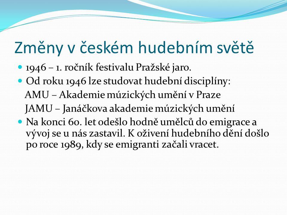 Změny v českém hudebním světě 1946 – 1. ročník festivalu Pražské jaro. Od roku 1946 lze studovat hudební disciplíny: AMU – Akademie múzických umění v