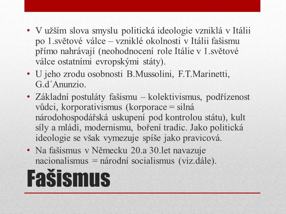 Fašismus V užším slova smyslu politická ideologie vzniklá v Itálii po 1.světové válce – vzniklé okolnosti v Itálii fašismu přímo nahrávají (neohodnocení role Itálie v 1.světové válce ostatními evropskými státy).