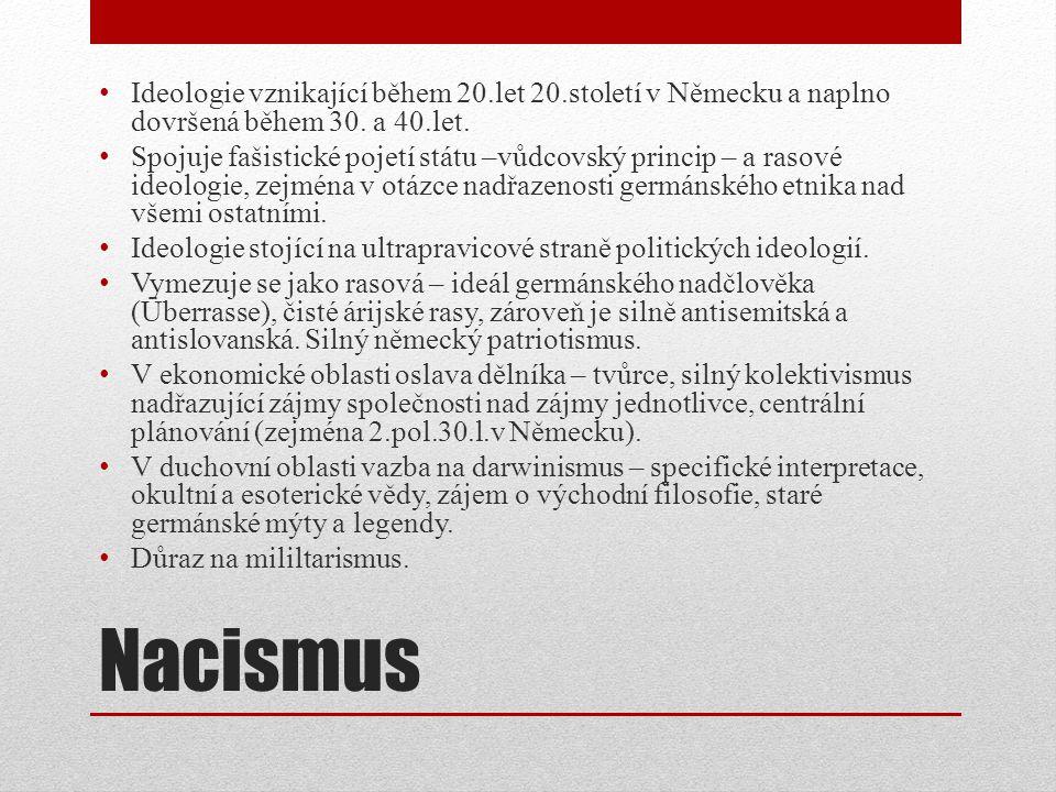 Nacismus Ideologie vznikající během 20.let 20.století v Německu a naplno dovršená během 30.