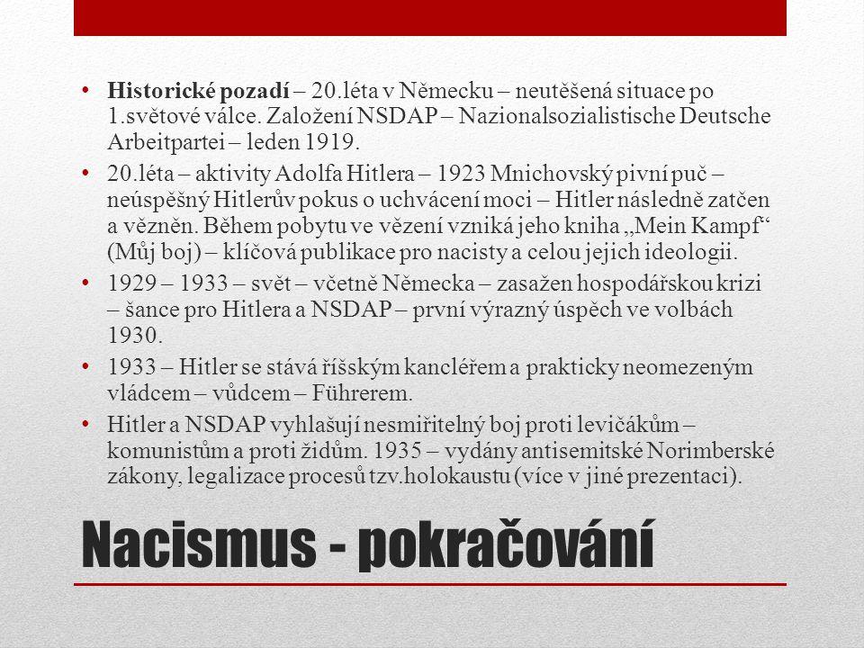 Nacismus - pokračování Historické pozadí – 20.léta v Německu – neutěšená situace po 1.světové válce.