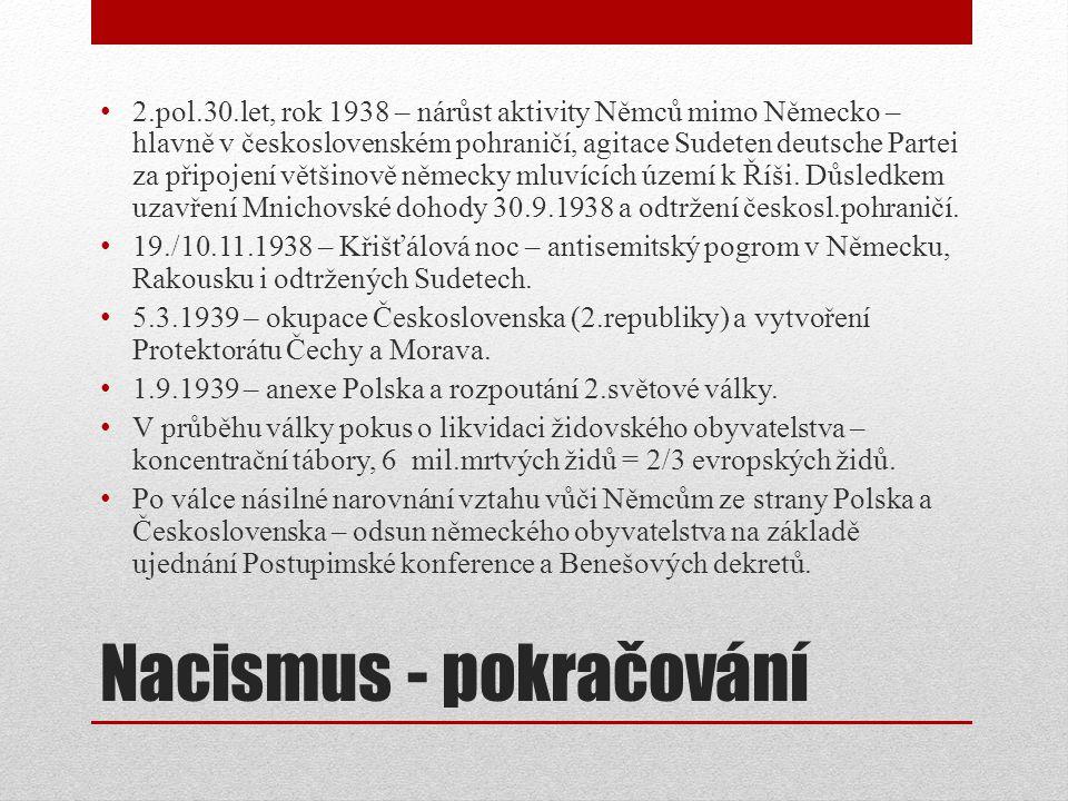 Nacismus - pokračování 2.pol.30.let, rok 1938 – nárůst aktivity Němců mimo Německo – hlavně v československém pohraničí, agitace Sudeten deutsche Partei za připojení většinově německy mluvících území k Říši.