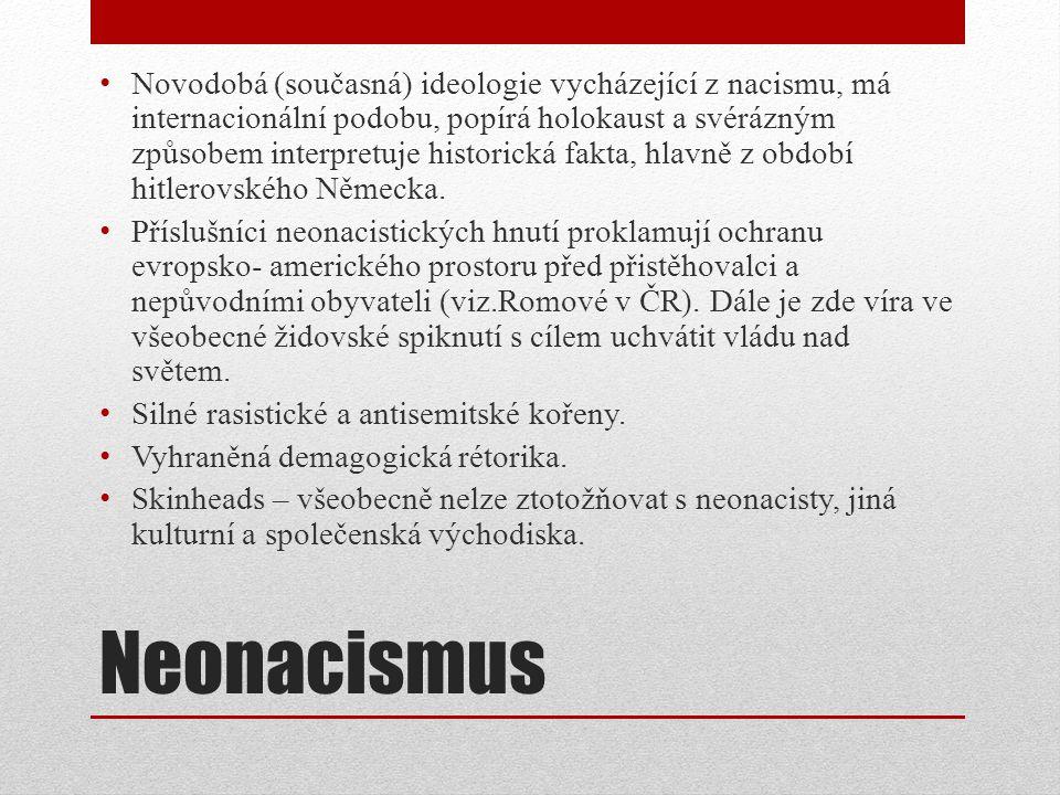 Neonacismus Novodobá (současná) ideologie vycházející z nacismu, má internacionální podobu, popírá holokaust a svérázným způsobem interpretuje historická fakta, hlavně z období hitlerovského Německa.