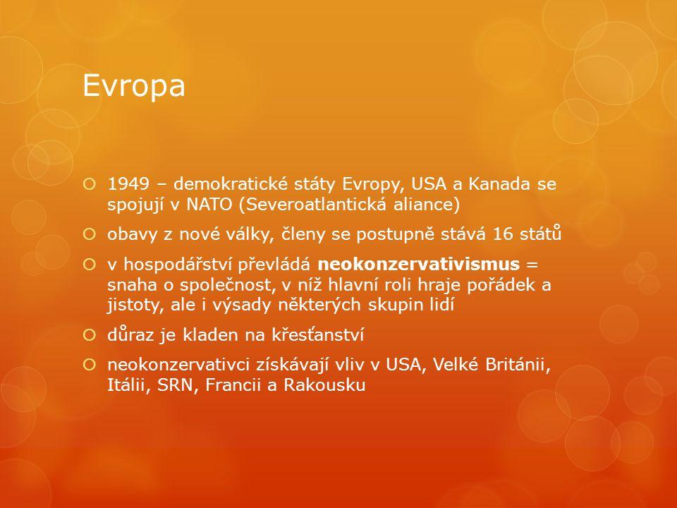 Evropa  1949 – demokratické státy Evropy, USA a Kanada se spojují v NATO (Severoatlantická aliance)  obavy z nové války, členy se postupně stává 16