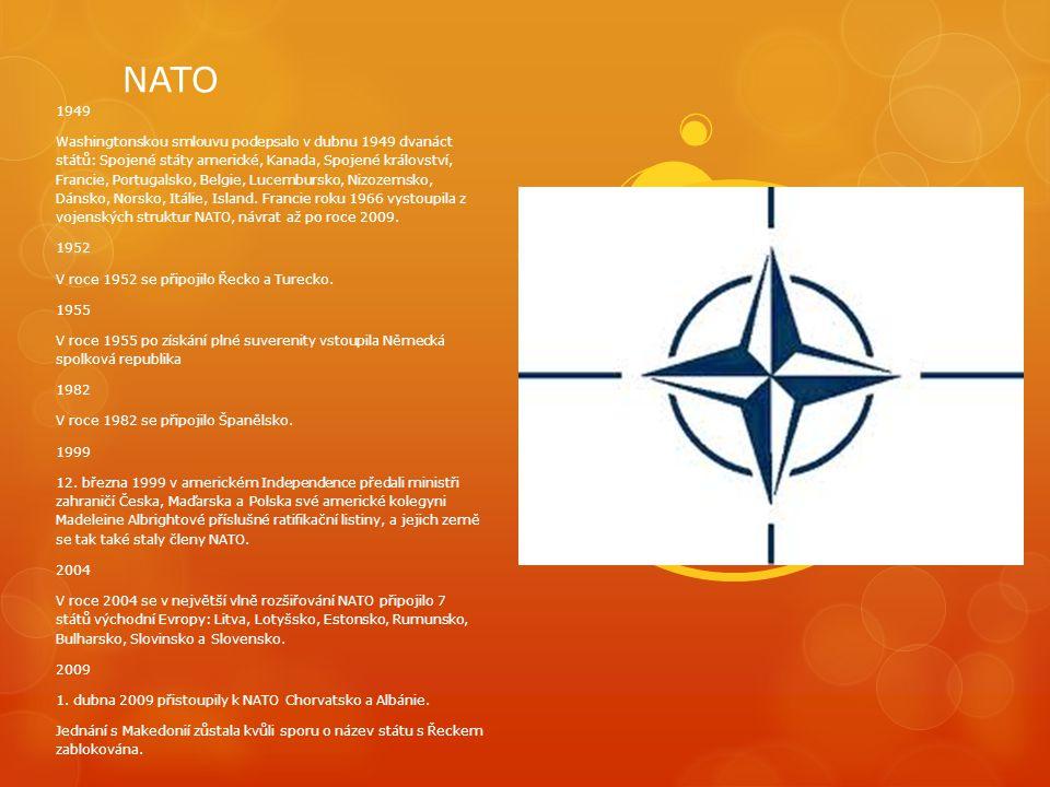 NATO 1949 Washingtonskou smlouvu podepsalo v dubnu 1949 dvanáct států: Spojené státy americké, Kanada, Spojené království, Francie, Portugalsko, Belgi