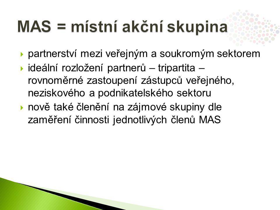  partnerství mezi veřejným a soukromým sektorem  ideální rozložení partnerů – tripartita – rovnoměrné zastoupení zástupců veřejného, neziskového a podnikatelského sektoru  nově také členění na zájmové skupiny dle zaměření činnosti jednotlivých členů MAS