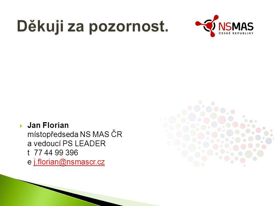  Jan Florian místopředseda NS MAS ČR a vedoucí PS LEADER t 77 44 99 396 e j.florian@nsmascr.czj.florian@nsmascr.cz