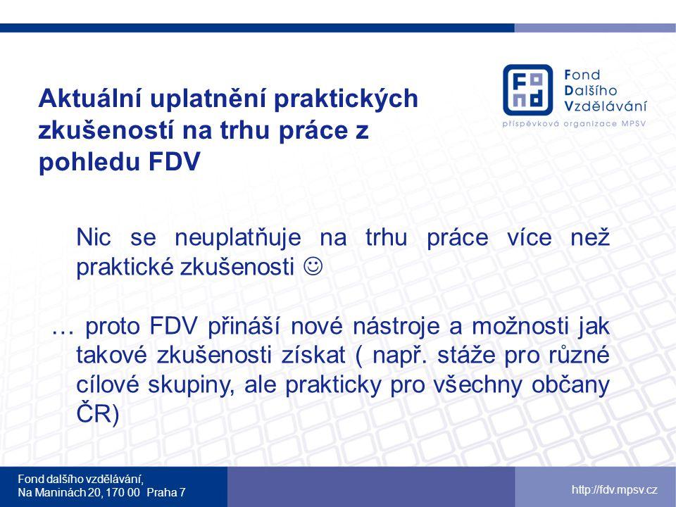 Fond dalšího vzdělávání, Na Maninách 20, 170 00 Praha 7 http://fdv.mpsv.cz Aktuální uplatnění praktických zkušeností na trhu práce z pohledu FDV Nic s
