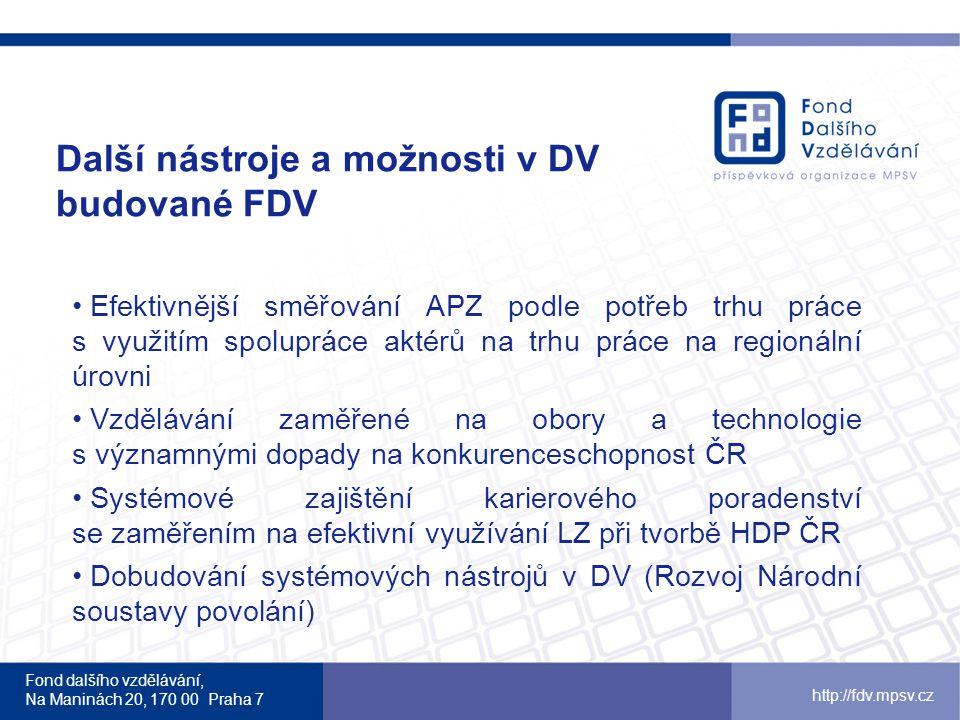 Fond dalšího vzdělávání, Na Maninách 20, 170 00 Praha 7 http://fdv.mpsv.cz Další nástroje a možnosti v DV budované FDV Efektivnější směřování APZ podl