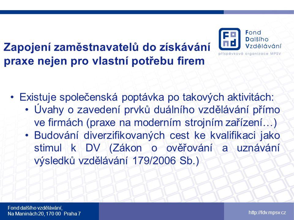 Fond dalšího vzdělávání, Na Maninách 20, 170 00 Praha 7 http://fdv.mpsv.cz Nabídka FDV Stáže ve firmách – vzdělávání praxí www.stazevefirmach.cz Infolinka 800 779 977 po-pá 9-16 hodin Stáže pro mladé zájemce o zaměstnání www.stazepromlade.czwww.stazepromlade.cz – budou spuštěny na konci roku 2012 stazepromlade@fdv.mpsv.cz