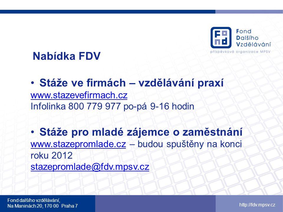 Fond dalšího vzdělávání, Na Maninách 20, 170 00 Praha 7 http://fdv.mpsv.cz Nabídka FDV Stáže ve firmách – vzdělávání praxí www.stazevefirmach.cz Infol