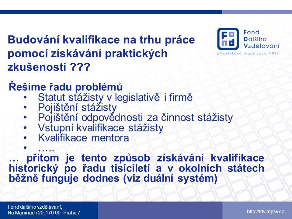 Fond dalšího vzdělávání, Na Maninách 20, 170 00 Praha 7 http://fdv.mpsv.cz Budování kvalifikace na trhu práce pomocí získávání praktických zkušeností