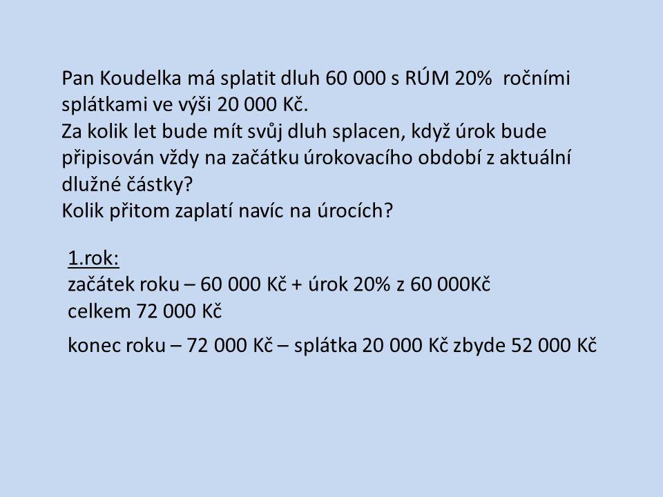 Pan Koudelka má splatit dluh 60 000 s RÚM 20% ročními splátkami ve výši 20 000 Kč.