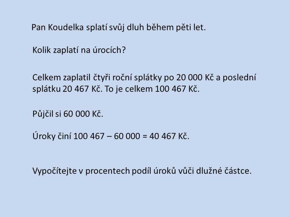 Pan Koudelka splatí svůj dluh během pěti let. Kolik zaplatí na úrocích.