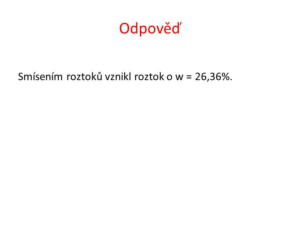 Určete hmotnostní procento roztoku, který vznikl smísením 250 cm 3 50% roztoku HNO 3 ( ς = 1,31 g·cm -3 ) s 300 cm 3 15% roztoku HNO 3 ( ς = 1,08 g·cm -3 ).