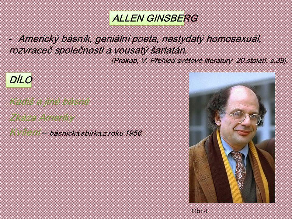 ALLEN GINSBERG -Americký básník, geniální poeta, nestydatý homosexuál, rozvraceč společnosti a vousatý šarlatán. (Prokop, V. Přehled světové literatur