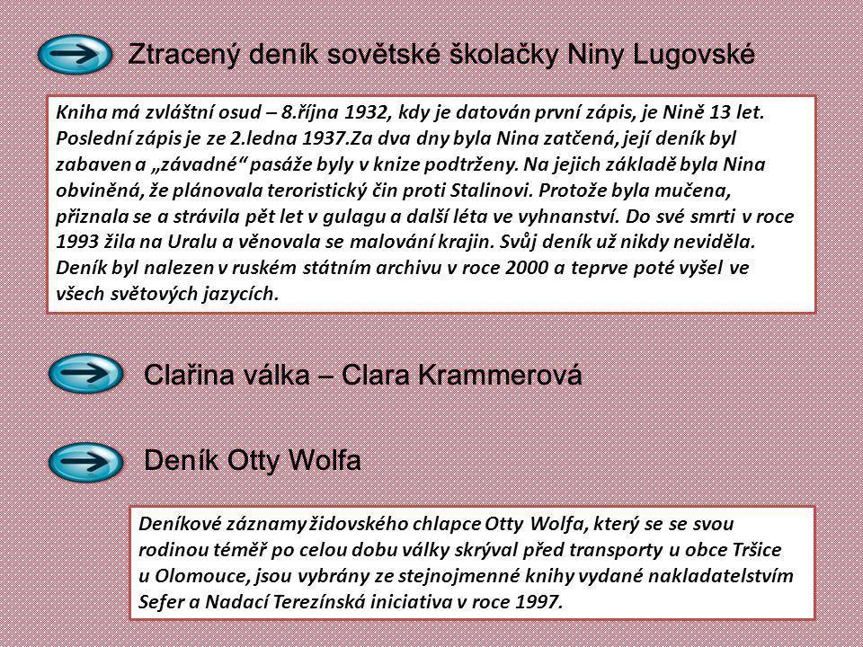 Ztracený deník sovětské školačky Niny Lugovské Clařina válka – Clara Krammerová Deník Otty Wolfa Deníkové záznamy židovského chlapce Otty Wolfa, který