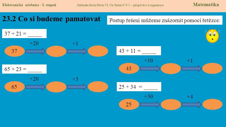 23.2 Co si budeme pamatovat Elektronická učebnice - I. stupeň Základní škola Děčín VI, Na Stráni 879/2 – příspěvková organizace Matematika 37 + 21 = _