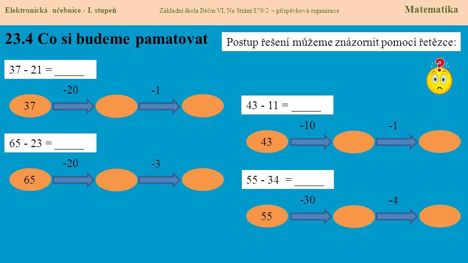 23.4 Co si budeme pamatovat Elektronická učebnice - I. stupeň Základní škola Děčín VI, Na Stráni 879/2 – příspěvková organizace Matematika 37 - 21 = _
