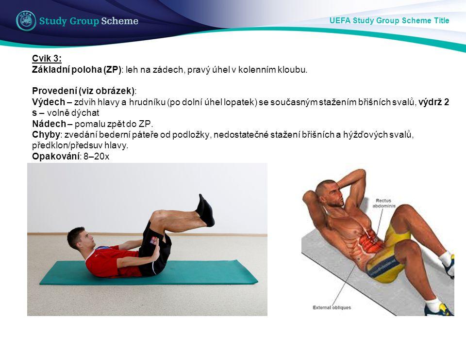 UEFA Study Group Scheme Title Cvik 3: Základní poloha (ZP): leh na zádech, pravý úhel v kolenním kloubu. Provedení (viz obrázek): Výdech – zdvih hlavy